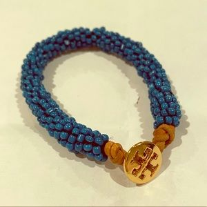 Beaded blue and gold Tory Burch bracelet
